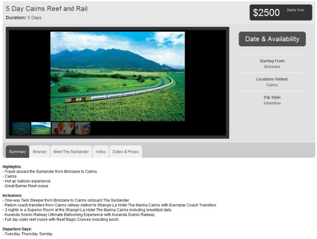 rail vacation package
